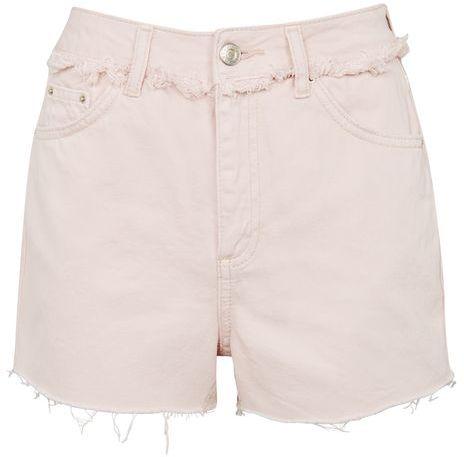TopshopTopshop Moto pink raw waist denim shorts
