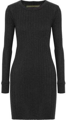 Enza Costa Ribbed Mélange Cotton And Cashmere-Blend Mini Dress