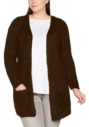 Zizzi Women's LS Cardigan, Braun (Coffee Bean 82)