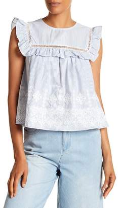 ENGLISH FACTORY Ruffled Cap Sleeve Blouse