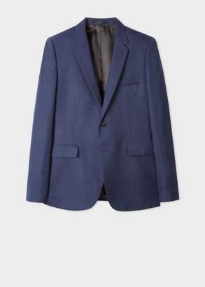 Men's Slim-Fit Navy Textured Two-Button Wool Hopsack Blazer