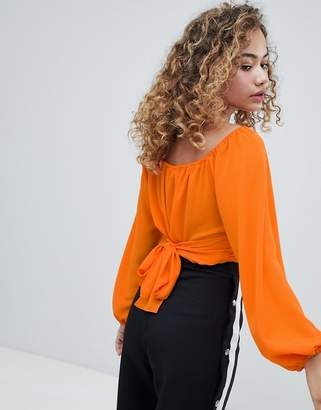 Miss Selfridge wrap front cropped blouse with tie back in orange
