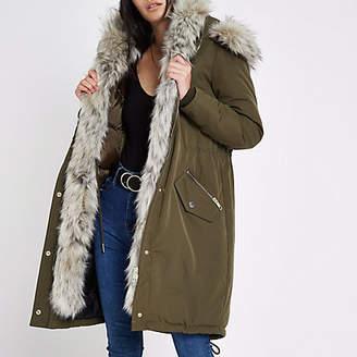 River Island Khaki faux fur trim hooded parka