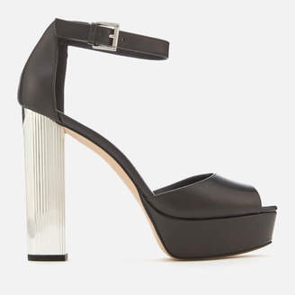MICHAEL Michael Kors Women's Paloma Leather Platform Heeled Sandals - Black