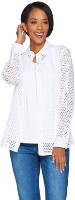 Denim & Co. Button Front Eyelet Shirt with Knit Tank