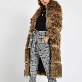 River Island Light brown fur tipped longline coat