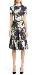 Carolina Herrera Floral Print Stretch Cotton Dress