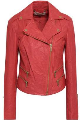 MICHAEL Michael Kors Crushed-Leather Biker Jacket