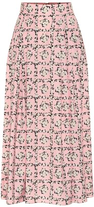 Emilia Wickstead Myrtle floral satin midi skirt