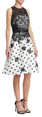 Theia Floral Polka Dot Dress