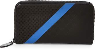 Emporio Armani Black & Blue Stripe Leather Zip-Around Wallet