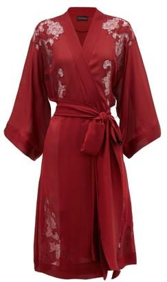 Carine Gilson Chantilly Lace Insert Silk Satin Robe - Womens - Red