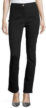 Escada Crystal High-Waist Ankle Jeans, Black