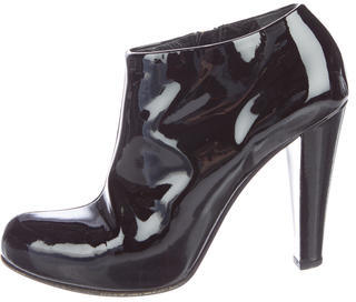 Miu Miu Miu Miu Patent Leather Round-Toe Booties