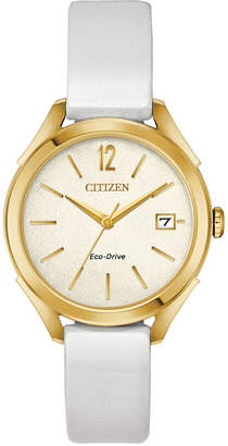 Citizen Drive From Eco-Drive Women's White Leather Strap Watch 34mm
