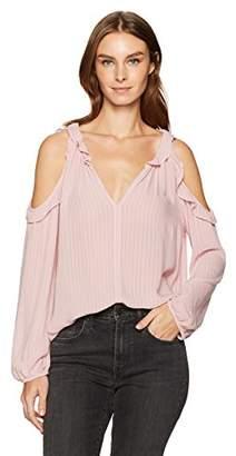 Velvet by Graham & Spencer Women's Crinkle Gauze Cold Shoulder Blouse