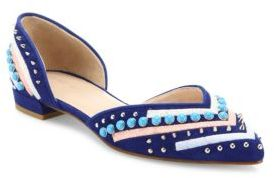 Stuart Weitzman Sugardots Embellished Suede Two-Piece Flats $498 thestylecure.com