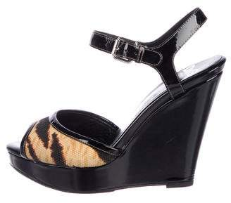 Dolce & Gabbana Patent Leather Ankle-Strap Wedges
