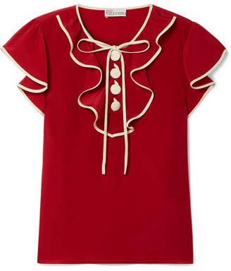 RED Valentino Ruffled Silk Crepe De Chine Blouse - Brick