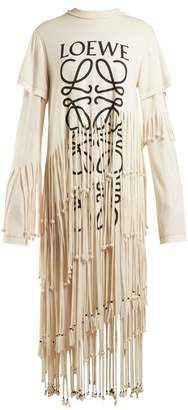 Loewe Anagram Logo Print Cotton And Silk Blend Dress - Womens - Beige