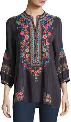 Johnny Was Sarabeth 3/4-Sleeve Georgette Tunic
