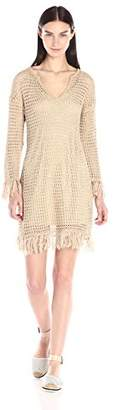Trina Turk Women's Callyn Fringe Open Weave Sweater Dress $268 thestylecure.com