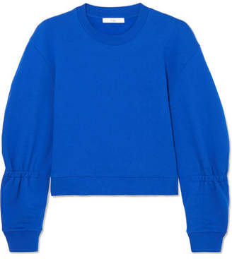 Tibi Gathered Cotton-jersey Sweatshirt - Bright blue