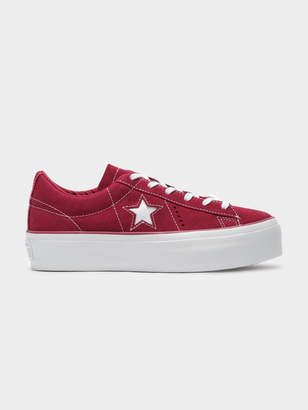 Converse Womens One Star Platform Sneakers in Field Rhubarb White 5f5ece00f
