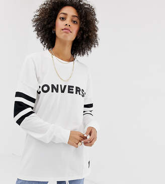 Converse Oversized Football Long Sleeve Top In White