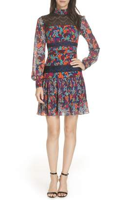 Saloni Dina Lace Inset Floral Print Dress