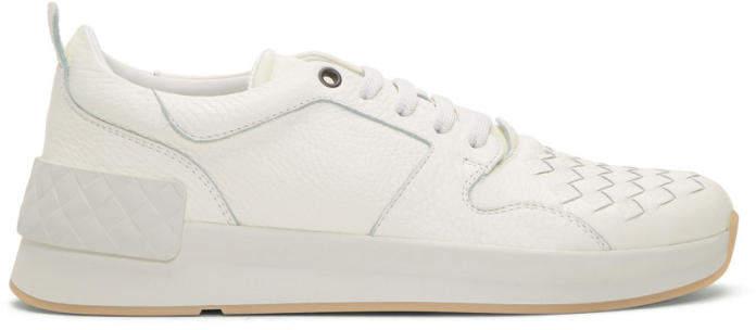 Bottega Veneta White Intrecciato Runner Sneakers