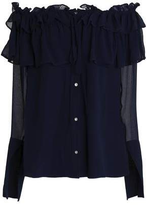 Opening Ceremony Off-The-Shoulder Ruffled Crinkled Silk-Chiffon Blouse