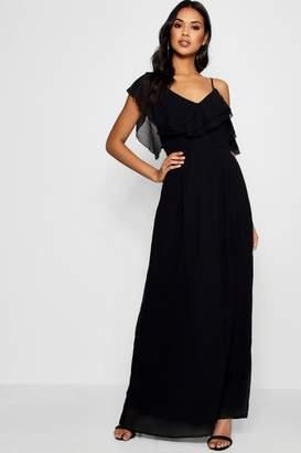 boohoo Boutique Frill One Shoulder Maxi Dress