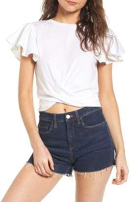 BP Ruffle Sleeve Twist Hem Tee