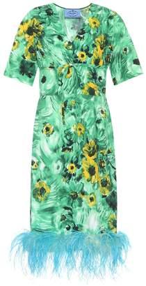 53a433b243b Prada Feather-trimmed printed dress
