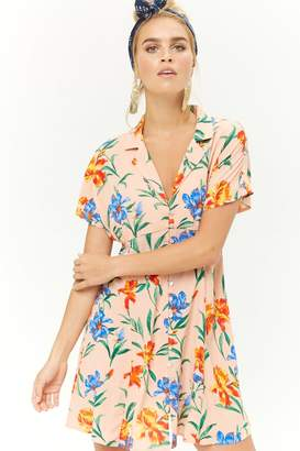 Forever 21 Tropical Floral Print Button-Front Dress