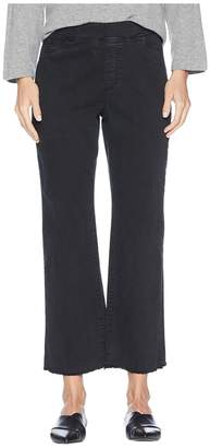 Eileen Fisher Organic Cotton Stretch Denim Ankle Pull-On Jeans w/ Raw Edge in Washed Black Women's Jeans