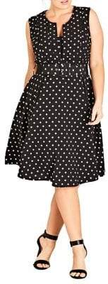 City Chic Plus Vintage Polka Dot Dress