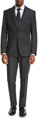 BOSS Micro-Nailhead 3-Piece Suit, Charcoal Black $1,145 thestylecure.com