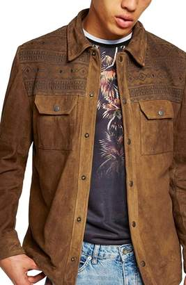 Topman Embroidered Suede Jacket
