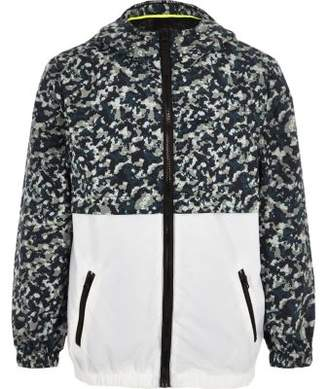 River Island Boys khaki camo lightweight hooded jacket