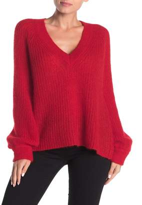 Naadam Alute V-Neck Slouchy Pullover Sweater