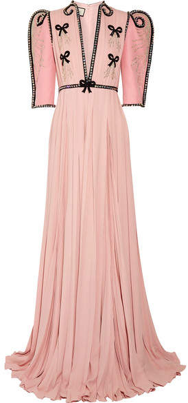 Gucci - Swarovski Crystal-embellished Wool And Silk-blend And Plissé-chiffon Gown - Pastel pink
