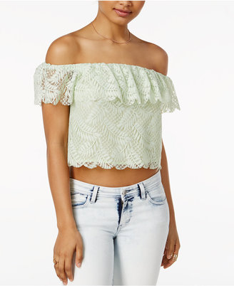 GUESS Sasha Off-The-Shoulder Lace Top $59 thestylecure.com