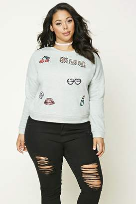 Forever 21 Plus Size Patch Sweatshirt