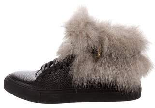 Buscemi Fur-Trimmed Leather Sneakers