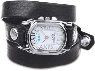 La Mer Women's LMCHATEAU1007 Black Silver Chateau Wrap Watch