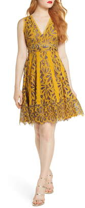 Foxiedox Embroidered Lace Fit & Flare Dress