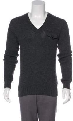 DSQUARED2 Wool & Alpaca Suede-Trimmed Logo V-Neck Sweater