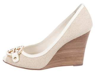 0b05e4c5cfe1f5 Tory Burch Canvas Peep-Toe Wedge Pumps